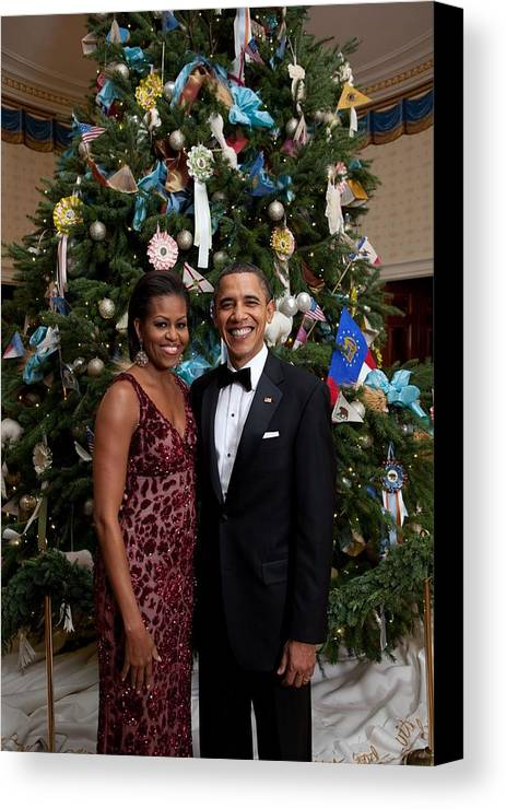 History Canvas Print featuring the photograph President And Michelle Obama Pose by Everett