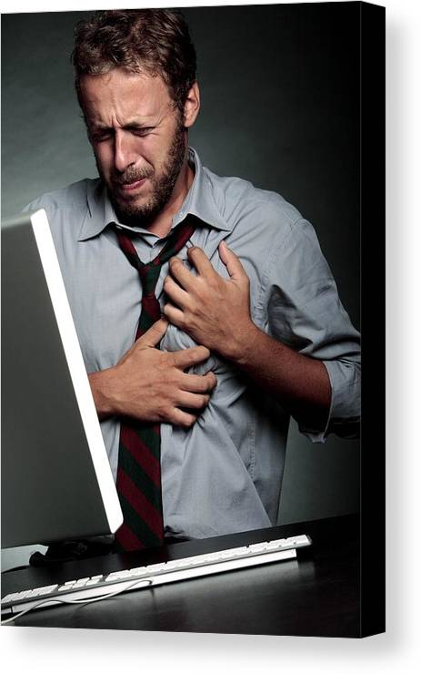 Computer Canvas Print featuring the photograph Stress-related Heart Attack by Mauro Fermariello