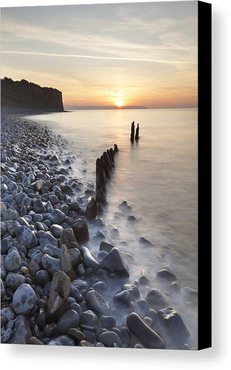Vertical Canvas Print featuring the photograph Sunset At The Remains Of Lilstock Pier by Nick Cable