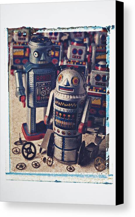 Toy Canvas Print featuring the photograph Toy Robots by Garry Gay