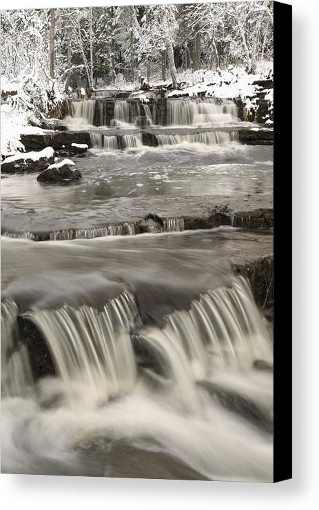 Cascade Canvas Print featuring the photograph Waterfalls With Fresh Snow Thunder Bay by Susan Dykstra