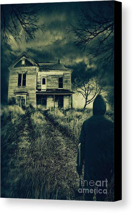 Abandoned Canvas Print featuring the photograph Scary Abandoned House On Hill by Sandra Cunningham