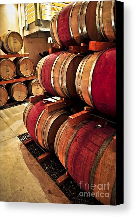 Barrels Canvas Print featuring the photograph Wine Barrels by Elena Elisseeva