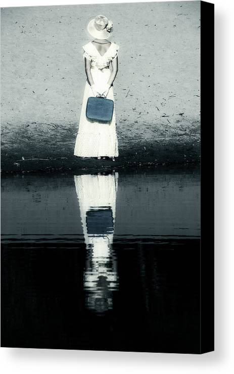 Woman Canvas Print featuring the photograph Woman With Suitcase by Joana Kruse