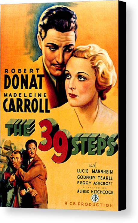 1930s Movies Canvas Print featuring the photograph 39 Steps, The, Robert Donat, Madeleine by Everett
