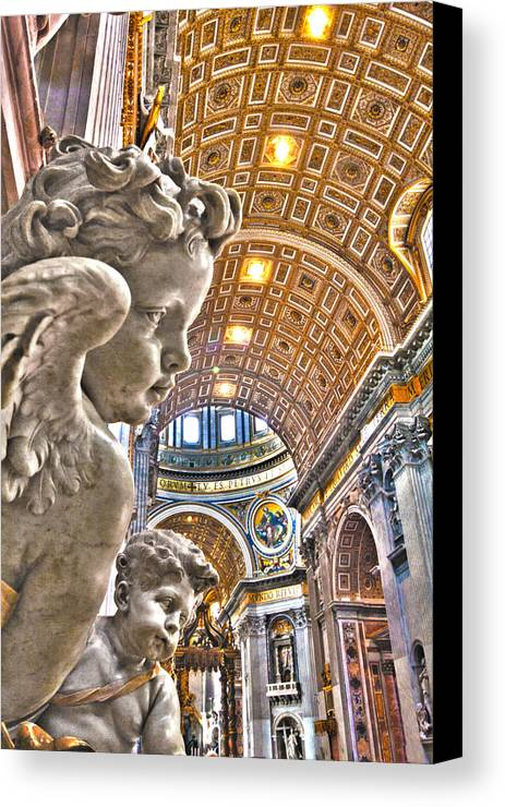 Italy Canvas Print featuring the photograph Angels At The Vatican by Michael Yeager