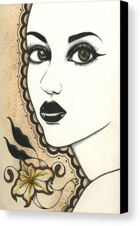 India Indian Arab Arabian Arabia Henna Mehindi Woman Girl Fantasy Lotus Stippling Earth Tone Brown Tan Orange Yellow Red Black Portrait Beautiful Beauty Canvas Print featuring the painting Arabel by Nora Blansett
