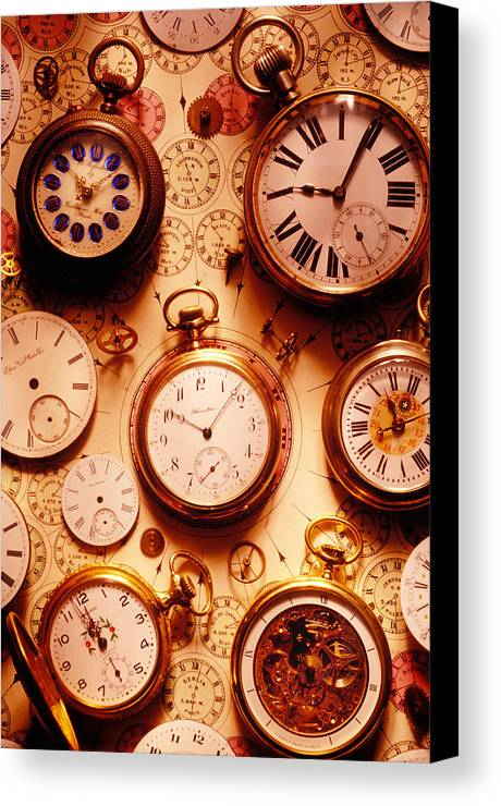Time Canvas Print featuring the photograph Assorted Watches On Time Chart by Garry Gay