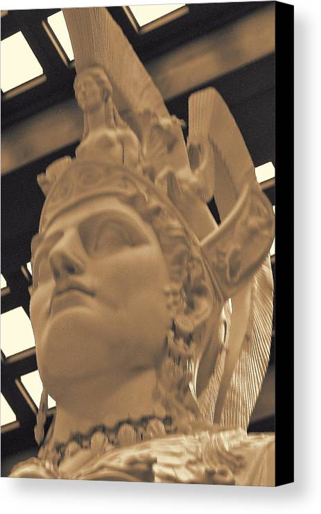 Ancient Canvas Print featuring the photograph Athena Sculpture Sepia by Linda Phelps