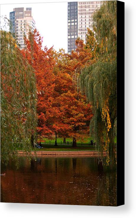 boston Public Garden Canvas Print featuring the photograph Autumn In The City by Paul Mangold
