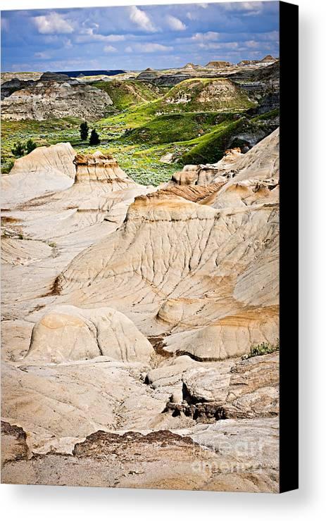 Badlands Canvas Print featuring the photograph Badlands In Alberta by Elena Elisseeva