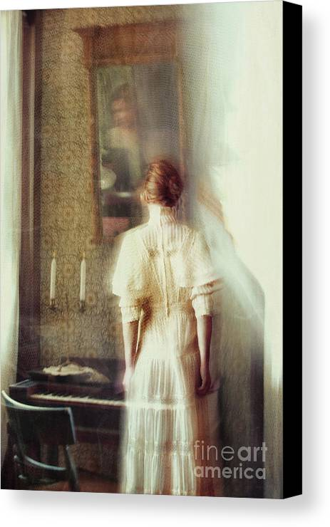 Atmosphere Canvas Print featuring the photograph Blurry Image Of A Woman In Vintage Dress by Sandra Cunningham