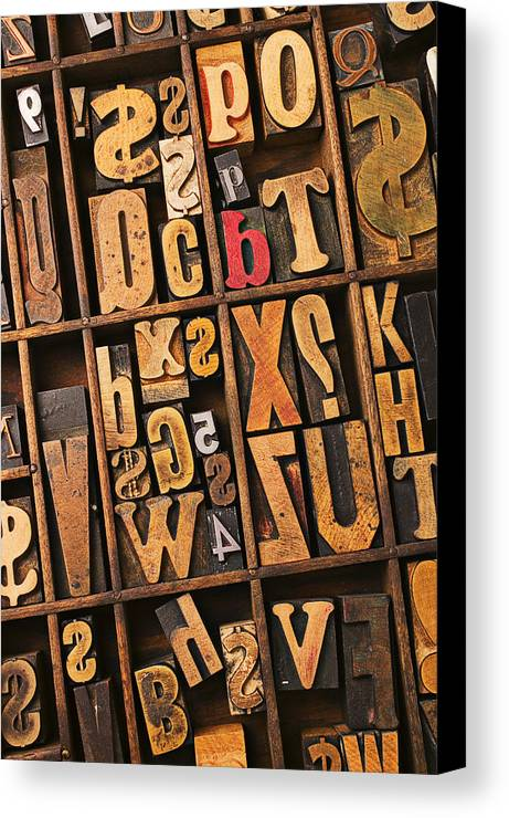 Type Canvas Print featuring the photograph Box Of Old Wooden Type Setting Blocks by Garry Gay