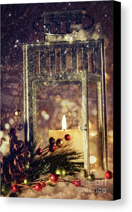 Background; Burn; Candle; Christmas; Cold; Color; Decoration; Evening; Fire; Glass; Holiday; Ice; Lamp; Lantern; Light; New; Night; Red; Season; Snow; Warm; Winter; Xmas; Year; Yellow; Santa; Claus; Snowy; Canvas Print featuring the photograph Brightly Lit Lantern In The Snow by Sandra Cunningham
