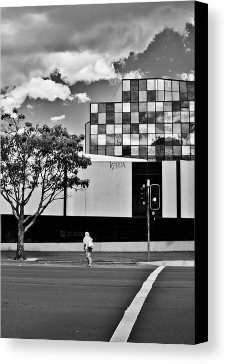 Mosaic Canvas Print featuring the photograph Bw Mosiac Windows And Pink Lady by Harry Neelam