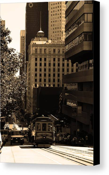 San Francisco Canvas Print featuring the photograph Cablecar On San Francisco California Street . Sepia . 7d7176 by Wingsdomain Art and Photography