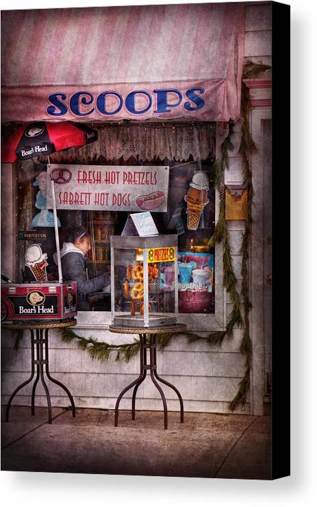 Hdr Canvas Print featuring the photograph Cafe - Clinton Nj - The Luncheonette by Mike Savad