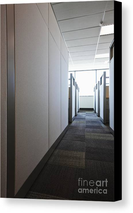 Aisle Canvas Print featuring the photograph Carpeted Hall With Office Cubicles by Jetta Productions, Inc