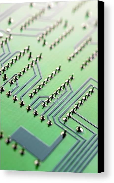 Vertical Canvas Print featuring the photograph Circuit Board by Maria Toutoudaki