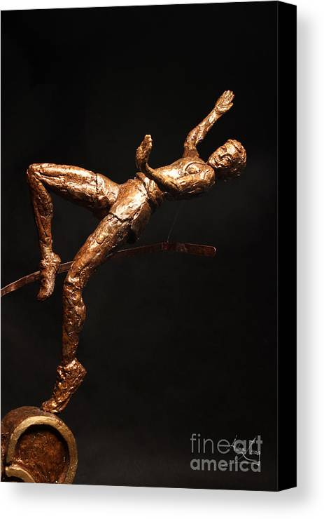 Olympic Canvas Print featuring the sculpture Citius Altius Fortius Olympic Art High Jumper On Black by Adam Long