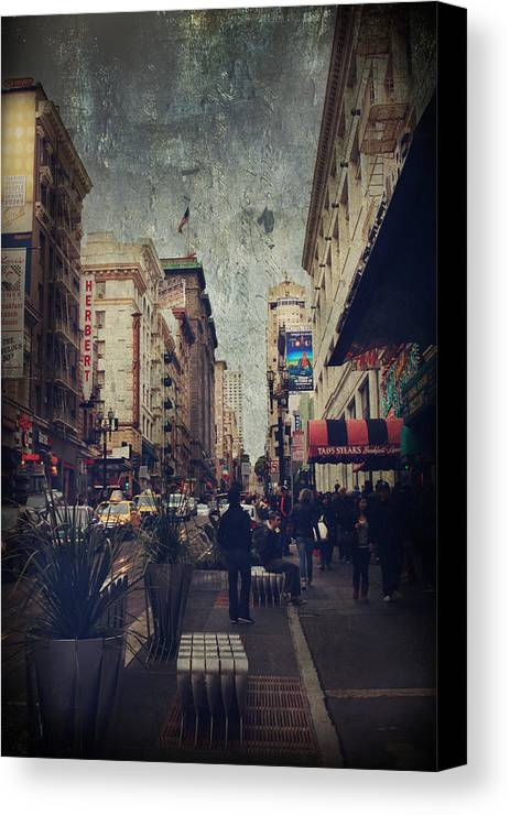 San Francisco Canvas Print featuring the photograph City Sidewalks by Laurie Search