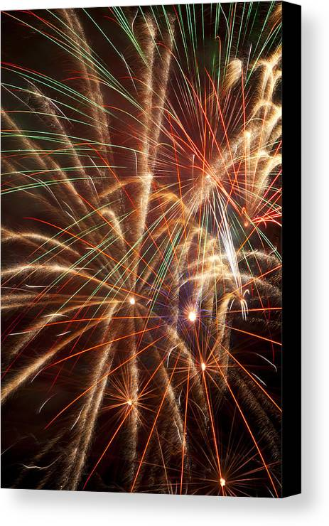 4th Of July Canvas Print featuring the photograph Colorful Fireworks by Garry Gay