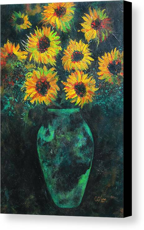 Sunflower Canvas Print featuring the painting Darkened Sun by Carrie Jackson