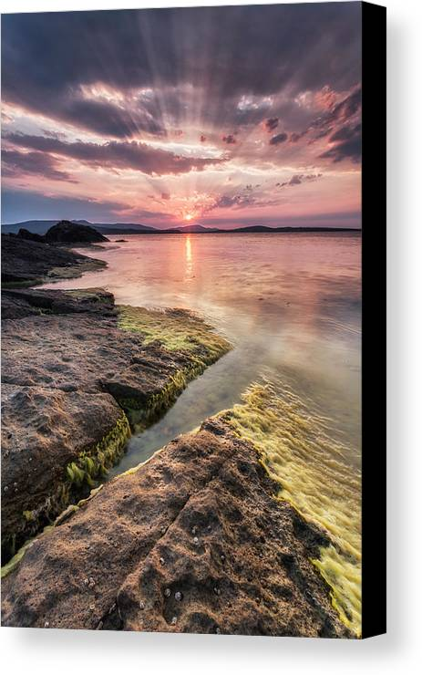 Black Sea Canvas Print featuring the photograph Divine Sunset by Evgeni Dinev