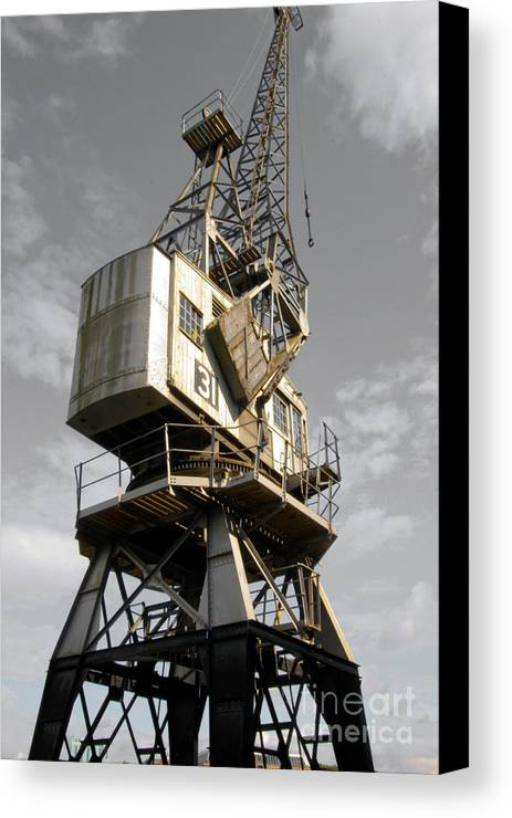 Old Cranes Canvas Print featuring the photograph Dockside Crane 2 by Jo