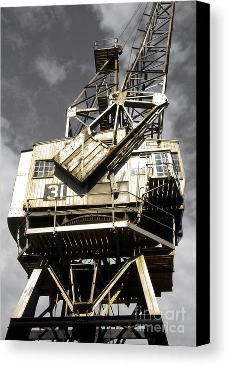 Old Cranes Canvas Print featuring the photograph Dockside Crane by Jo