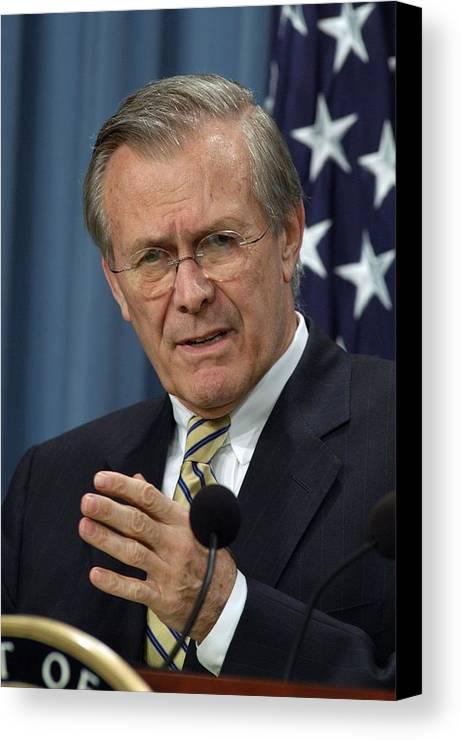 History Canvas Print featuring the photograph Donald H. Rumsfeld Secretary Of Defense by Everett
