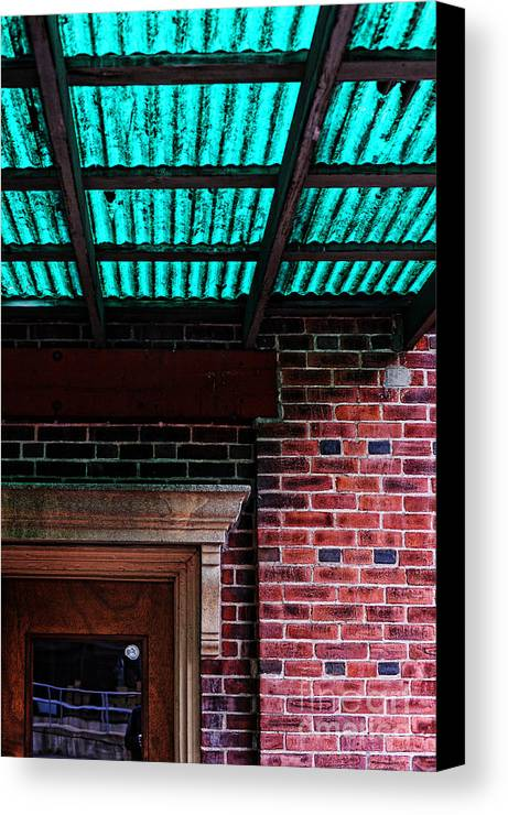 Door Canvas Print featuring the photograph Door With Green Overhang by HD Connelly