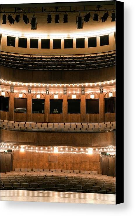 Vertical Canvas Print featuring the photograph Empty Seating In An Art Deco Theater by Adam Burn