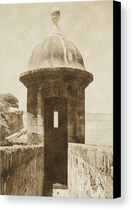 Travelpixpro Puerto Rico Canvas Print featuring the digital art Entrance To Sentry Tower Castillo San Felipe Del Morro Fortress San Juan Puerto Rico Vintage by Shawn O'Brien