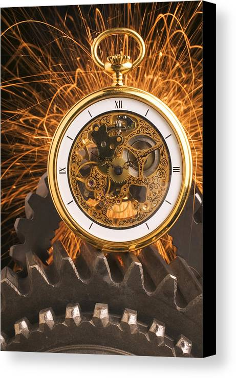 Fancy Canvas Print featuring the photograph Fancy Pocketwatch On Gears by Garry Gay