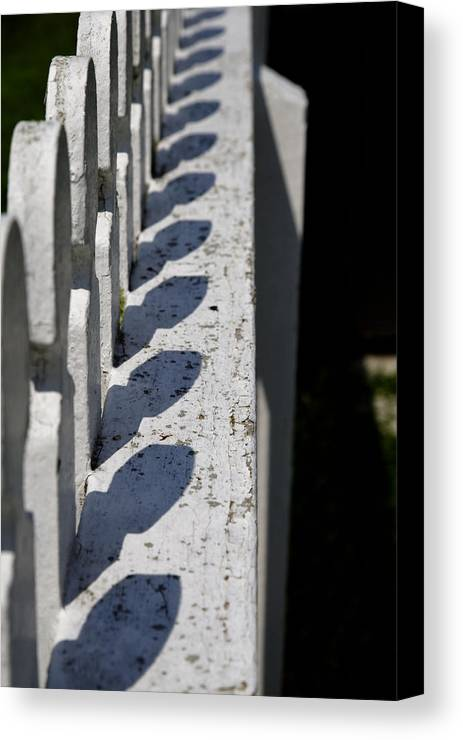 Shaker Canvas Print featuring the photograph Fence Shadows by Lone Dakota Photography
