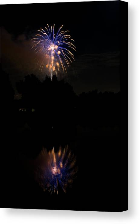 4th Of July Canvas Print featuring the photograph Fireworks Reflection by James BO Insogna