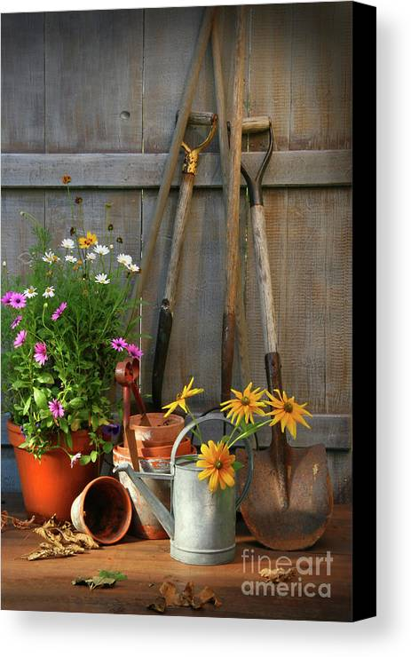 Activity Canvas Print featuring the photograph Garden Shed With Tools And Pots by Sandra Cunningham