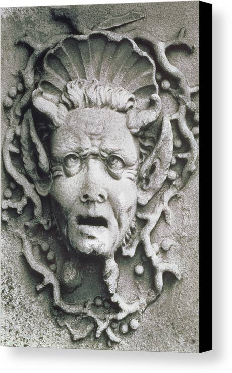 Grotesque; Monster; Monstrous; Head; Face; Sea Creature; Scallop Shell; Fantastical; Coral; Seaweed; Witch; Screaming; Bizarre; Horns; Pointed Ears; Demon; Siren; Cross-eyed; Mermaid Canvas Print featuring the photograph Gargoyle by Simon Marsden