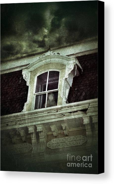 House Canvas Print featuring the photograph Ghostly Girl In Upstairs Window by Jill Battaglia