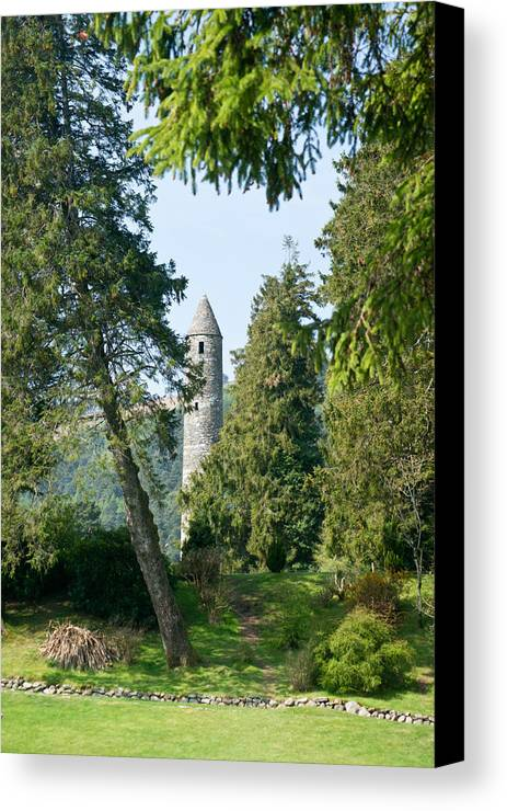 Round Canvas Print featuring the photograph Glendalaugh Round Tower 11 by Douglas Barnett