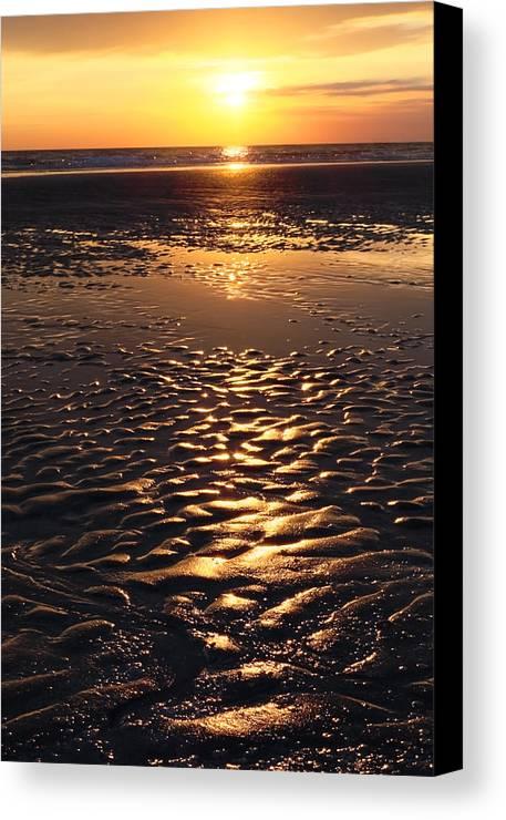 Abstract Canvas Print featuring the photograph Golden Sunset On The Sand Beach by Setsiri Silapasuwanchai