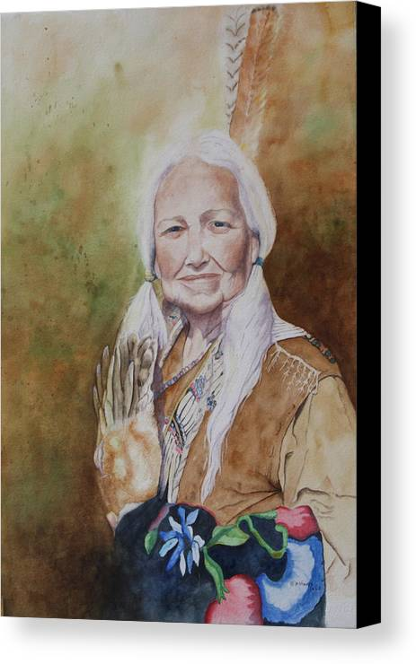 Native American Spirit Portrait Canvas Print featuring the painting Grandmother Many Horses by Patsy Sharpe