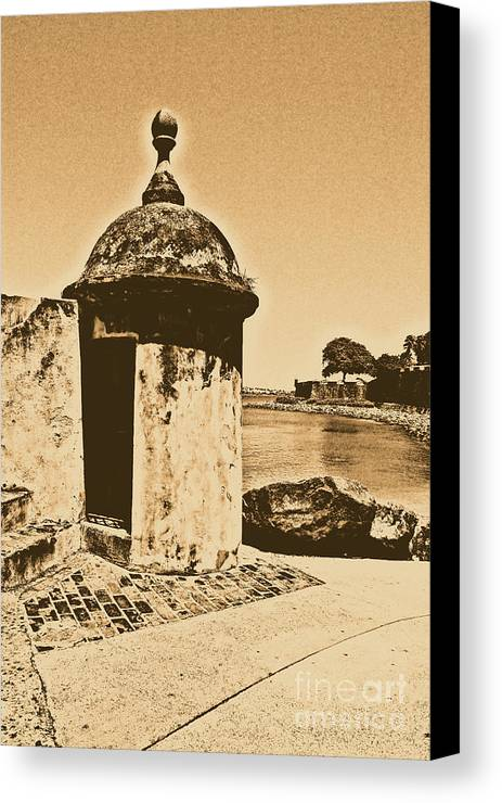 El Morro Canvas Print featuring the digital art Guard Post Castillo San Felipe Del Morro San Juan Puerto Rico Rustic by Shawn O'Brien