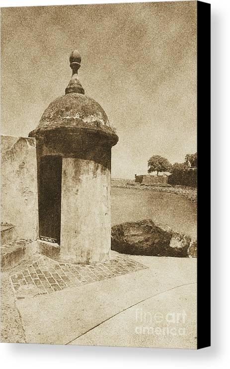 El Morro Canvas Print featuring the digital art Guard Post Castillo San Felipe Del Morro San Juan Puerto Rico Vintage by Shawn O'Brien