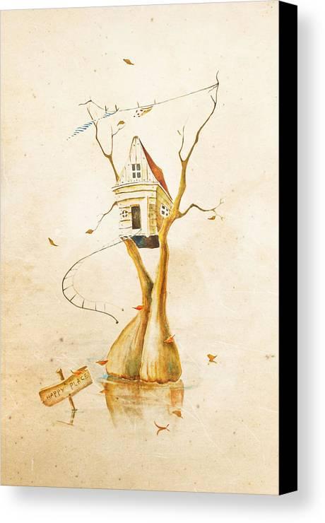 Tree Canvas Print featuring the painting Happy Place by Tatiana Minina