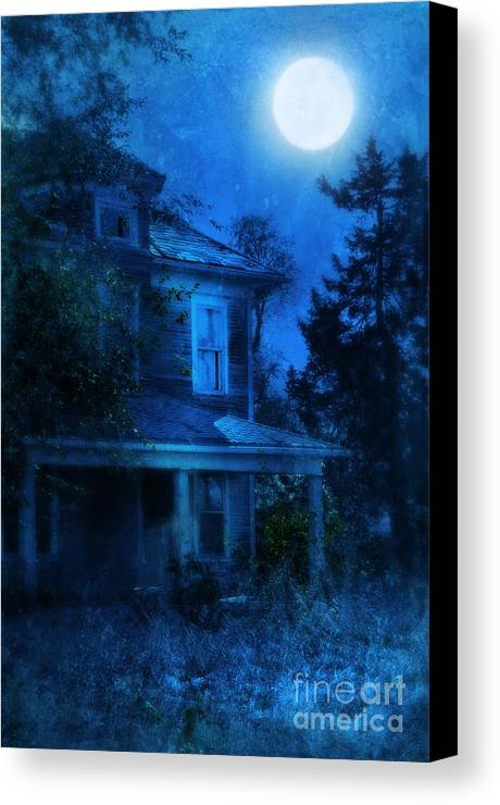 House Canvas Print featuring the photograph Haunted House Full Moon by Jill Battaglia