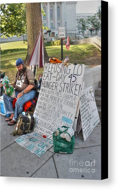 Madison Wisconsin Canvas Print featuring the photograph Hunger Strike by David Bearden