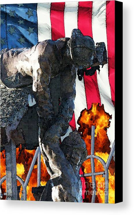 Fire Department Canvas Print featuring the digital art In Remembrance Of 911 by Tommy Anderson
