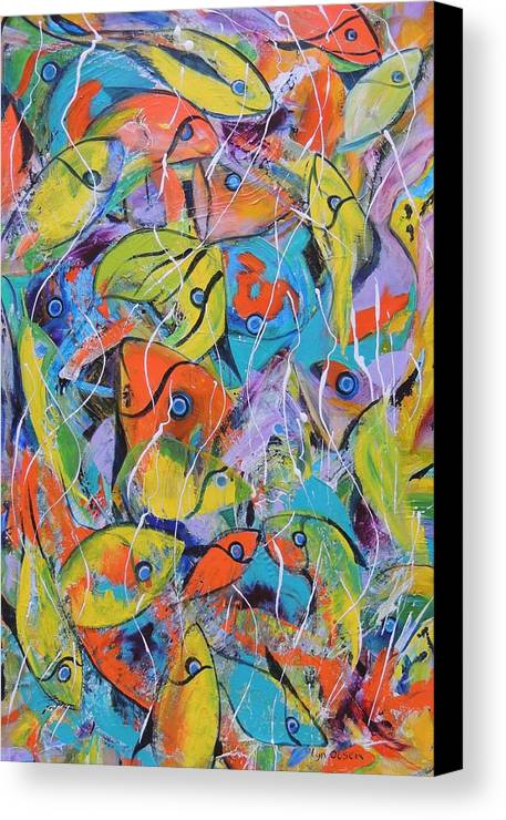 Fish Canvas Print featuring the painting Its A Bit Crowded by Lyn Olsen